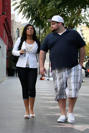 Amber Portwood completed her ensemble with white peep toe wedges that were cute for a springtime look.