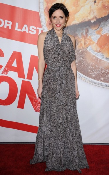 Jenny Mollen wore this lovely silk maxi-dress to the 'American Reunion' premiere.