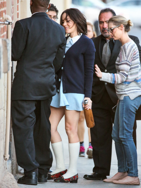 Jena Malone stopped by 'Kimmel' wearing a navy cardigan over a collared baby-blue mini dress.