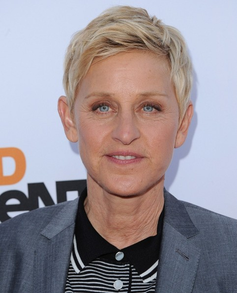 More Pics of Ellen DeGeneres Layered Razor Cut (1 of 16) - Short Hairstyles Lookbook - StyleBistro