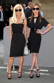 With corset-like detailing on the torso, Donatella's LBD is simple yet super sexy.