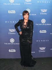 Kris Jenner glittered in a black sequined gown with a lacy neckline at the 2019 Art of Elysium celebration.