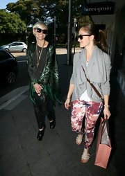 Ashlee Simpson wore this silky green open front blouse while out shopping in Australia with Minka Kelly.