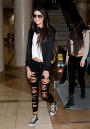 How cool are these shredded leggings Kendall wore to LAX?