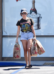 Ashley Tisdale went heavy metal with this Iron Maiden tee while out shopping.