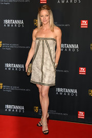 Teri Polo showed off her strong shoulders in a strapless a-line dress for the BAFTA Britannia Awards.