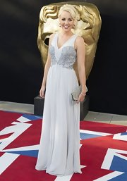 Lydia Bright looked absolutely beautiful in a long white beaded dress at the BAFTA Awards.