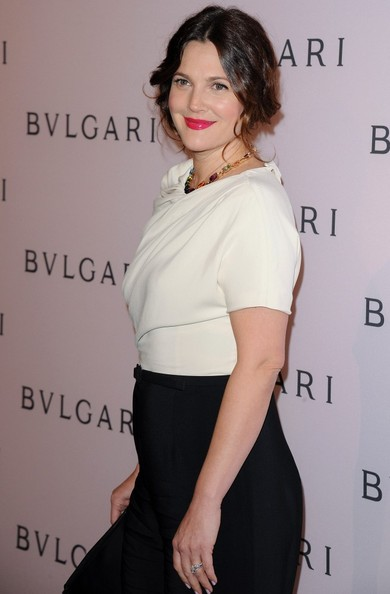 More Pics of Drew Barrymore Pink Lipstick (2 of 19) - Drew Barrymore Lookbook - StyleBistro