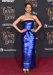 Gugu Mbatha-Raw brought a high dose of shimmer to the 'Beauty and the Beast' premiere with this strapless royal-blue sequin gown by Oscar de la Renta.