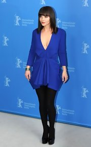 Christina Ricci wore this royal blue cocktail dress with a deep-v to the Berlin Film Festival.