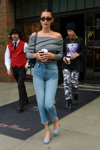 More Pics of Bella Hadid Off-the-Shoulder Top (1 of 3) - Tops Lookbook - StyleBistro [jeans,clothing,fashion,denim,eyewear,street fashion,sunglasses,textile,trousers,footwear,sunglasses,jeans,hailey baldwin,bella hadid,coffee run,fashion,clothing,eyewear,street fashion,levi strauss co,bella hadid,jeans,sunglasses,hailey rhode bieber,fashion,levi strauss co.,clothing,shoe,jacket]