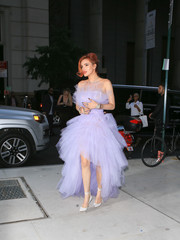 Bella Thorne paired her fairytale gown with white ankle-tie pumps by Schutz.