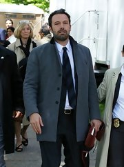Ben Affleck chose a classic gray fitted jacket for his dapper look while out Brown University.