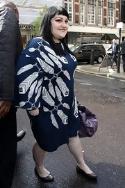 Beth Ditto was spotted leaving Radio 1 studios in London wearing a pair of glossy gray ballet flats.