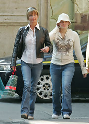Bo Derek spruced up her jeans and button-down combo with a cropped black leather jacket while touring Rome.