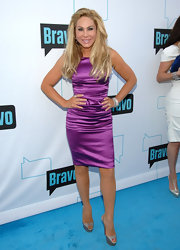 Adrienne Maloof showed off her svelte figure in a purple sheath dress during Bravo's 2011 Upfront Presentation.
