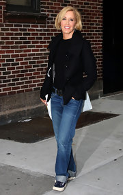 Felicity Huffman chose a pair of straight-leg bootcut jeans for her look while heading to the David Letterman show.