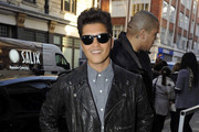 Bruno Mars keeps it cool as he arrives at the BBC Radio One studios.