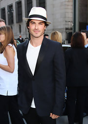 Ian wears yet another styling fedora. We love a man who can pull off hats!