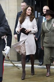 Kate Middleton carried a black leather clutch during an outing in Cambridge.