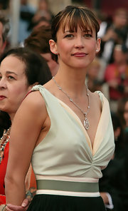 Sophie Marceau's diamond studs added slight sparkle to her dress.