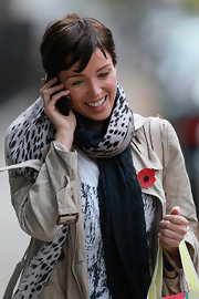 Dannii Minogue wore a black and white patterned scarf while out in London.