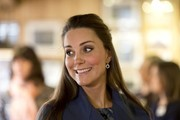 Duchess Catherine visits a pottery factory on February 18, 2015.