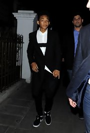 Jaden Smith opted for a cool and modern look when he wore this knee-length black blazer.