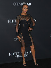 Vivica A. Fox totally stole the spotlight in a form-fitting, sheer-panel LBD during the premiere of 'Fifty Shades of Black.'