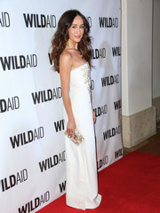 Maggie Q's Emm Kuo mother-of-pearl box clutch worked perfectly with her dress.