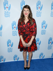 Mayim Bialik attended the Save a Child's Heart Gala wearing a classic red and black printed wrap dress.