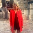 Mollie King Looks Cute in a Red Coat