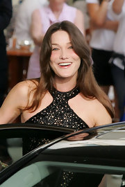 Carla wears her hair long and wavy for the Cannes Film Festival.
