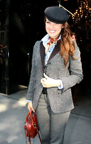 Petra looks like a doll in this darling get-up.  This herringbone blazer with corduroy lapels is quite adorable.