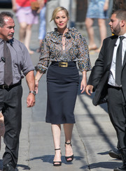 Christina Applegate was boho-chic in a print blouse with a keyhole neckline during her appearance on 'Kimmel.'