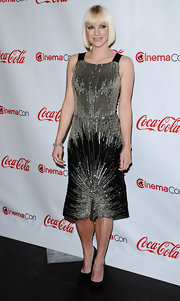 Anna Faris was all about the glizt in this silver beaded number at the CinemaCon Awards.
