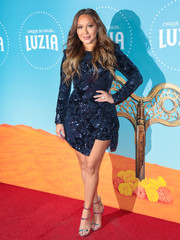 Silver triple-strap sandals finished off Adrienne Bailon's look.