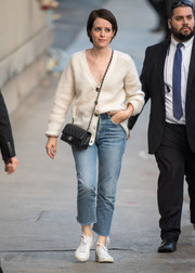 Claire Foy was casual and cozy in a white cardigan while headed to 'Kimmel.'