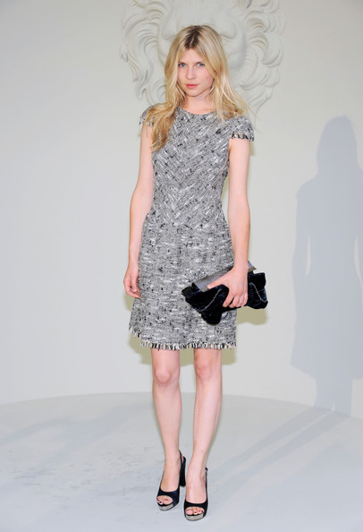 Clemence looked sophisticated in a tweed, cap-sleeved cocktail dress with a