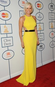 Yolanda Foster looked statuesque in a sleeveless yellow evening dress during Clive Davis' pre-Grammy gala.