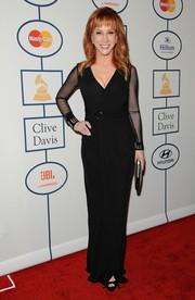 Kathy Griffin chose a simple black evening dress with sheer sleeves for Clive Davis' pre-Grammy gala.