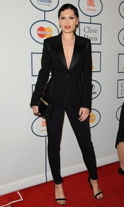 Jessie J opted for a super-chic black pantsuit when she attended Clive Davis' pre-Grammy gala.