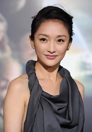 Xun Zhou looked refined with a clean side-swept updo at the 'Cloud Atlas' Hollywood premiere.