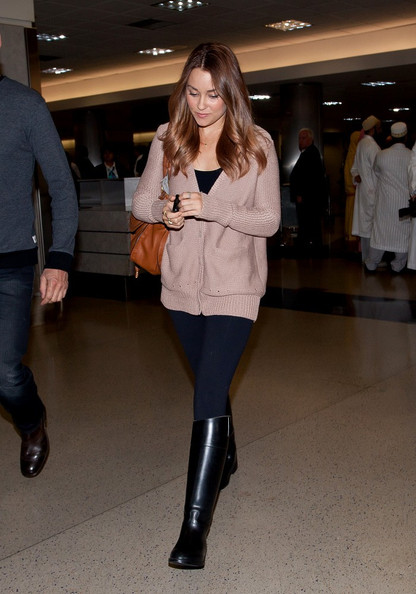 Lauren Conrad traveled in style through LAX in black flat boots.