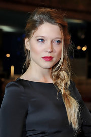 Lea Seydoux wore her hair in a long messy side-braid at the premiere of 'Mission: Impossible - Ghost Protocol.'