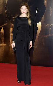 Lea Seydoux wore a black evening dress with a bowed waist for the 'Mission: Impossible' UK premiere.