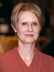 Cynthia Nixon wore her usual short hairstyle while visiting the Helene Fuld College of Nursing.