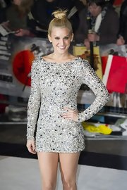 Ashley sparkled in this shimmering silver sequined dress.