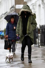 Daisy Lowe opted for the hipster-grunge look with this green utility jacket with a fur hood.