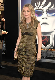 Michelle Pfeiffer took our breath away with this textured gold sheath dress at the LA premiere of 'Dark Shadows.'